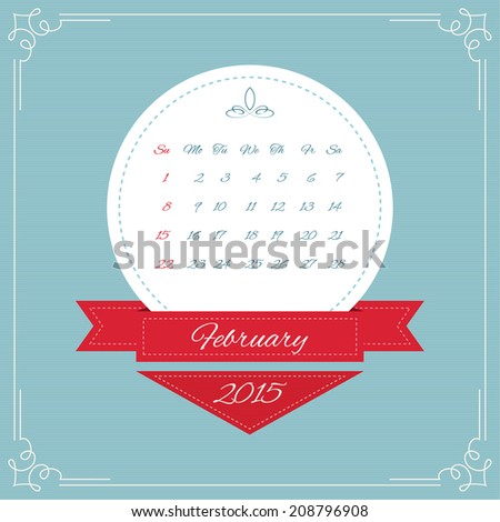 Calendar for 2015. Round Vintage banners with ribbon for month and swirl elements and Vintage frame. vector. February, winter - stock vector