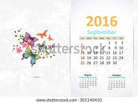 Calendar for 2016, September - stock vector