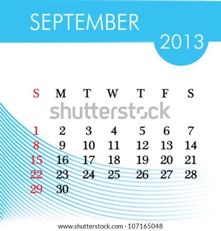 calendar for 2013 september illustration - stock vector