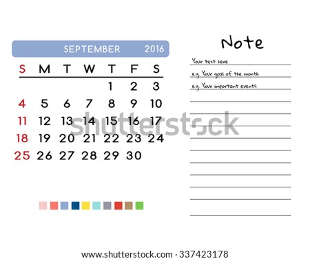 Calendar for September 2016. Week Starts Sunday. Clean and Simple Vector Template with pan tone color palette