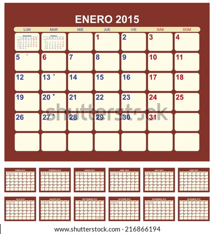 Calendar for 2015 (spanish language) - stock vector