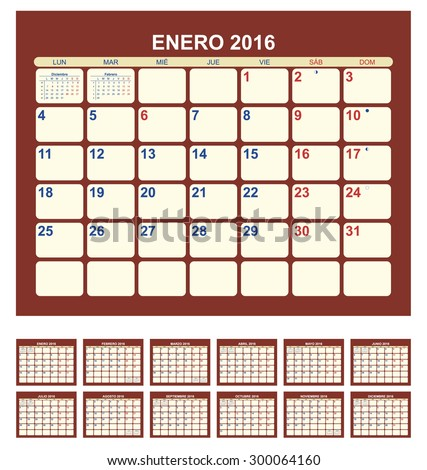 Calendar for 2016 (spanish language) - stock vector