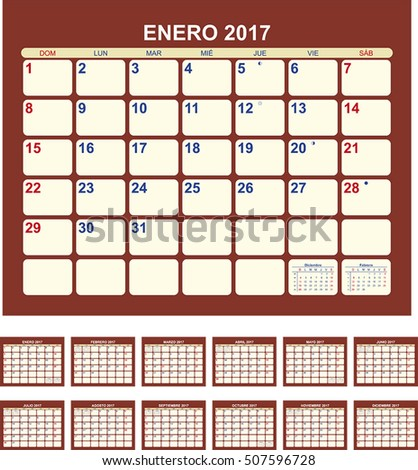 Calendar for 2017 (spanish language)