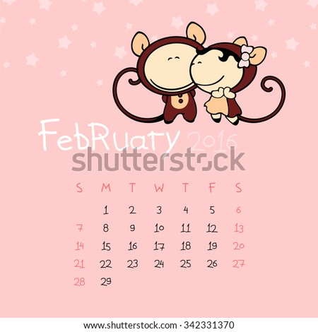 Calendar for the year 2016 - February - stock vector