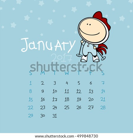 Calendar for the year 2017 - January