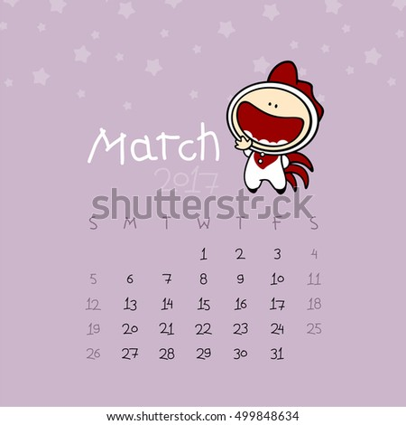 Calendar for the year 2017 - March