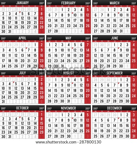 Calendar for the year of 2017 - stock vector
