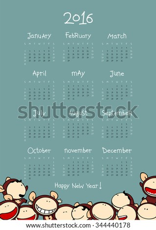 Calendar for the year 2016 with Monkeys - stock vector