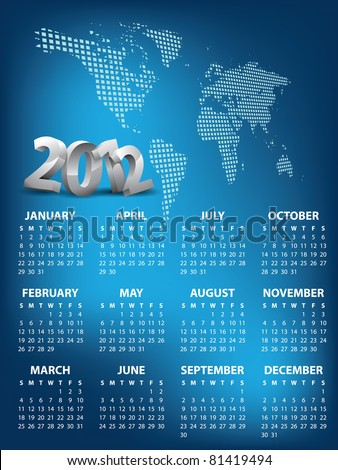 Calendar for 2012 vector - stock vector