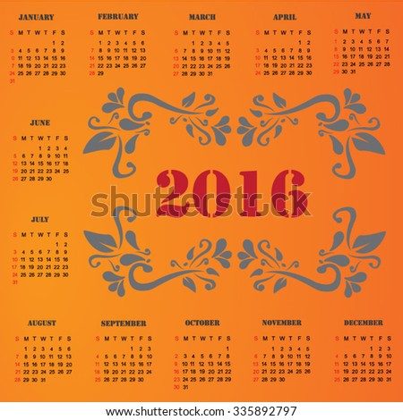 Calendar for 2016 vector design template