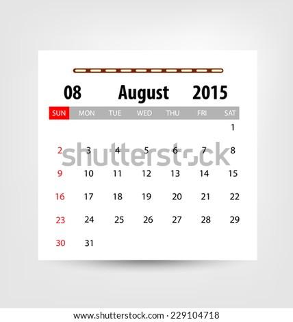 Calendar for 2015. Vector EPS10. - stock vector
