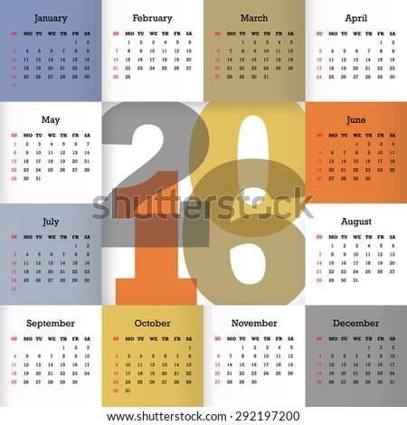 Calendar for 2016. Vector EPS10 - stock vector