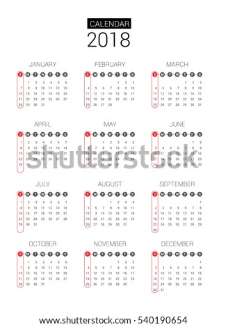 calendar for 2018. Vector EPS10