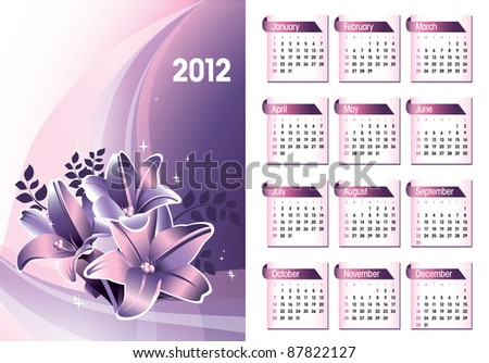 Calendar for 2012. Vector Eps10. - stock vector