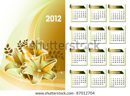 Calendar for 2012. Vector Illustration. - stock vector