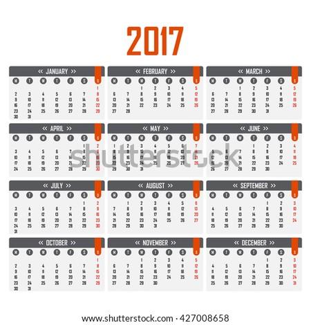 Calendar for 2017. Week starts on Monday.  Calendar symbol, Calendar element, Calendar sign, vector Calendar, Calendar picture, Calendar illustration, app Calendar, image Calendar, flat Calendar - stock vector