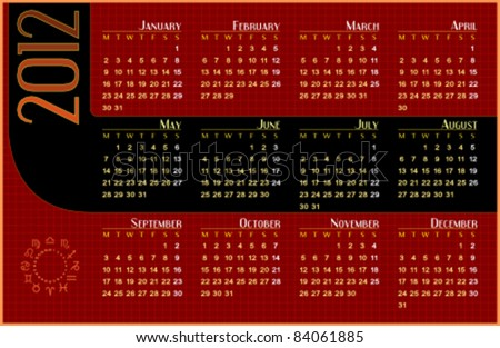 Calendar for 2012. Week starts on Monday. Easy to edit. Space for text or logo. - stock vector