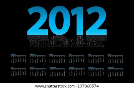 calendar for 2012, week starts on Sunday - stock vector