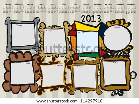 calendar for 2013, weekly planner, doodle, Frames - stock vector