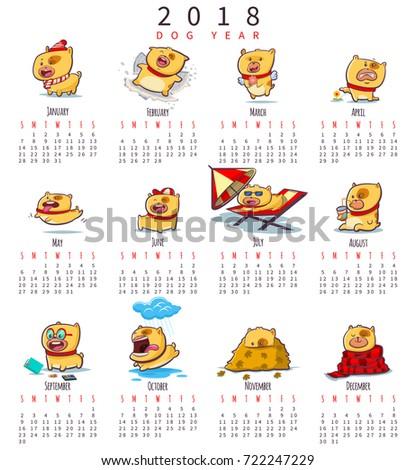 Calendar 2018 Cute Funny Puppies Symbol Stock Vector (2018