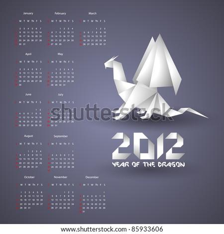Calendar for 2012 with Origami Dragon - stock vector