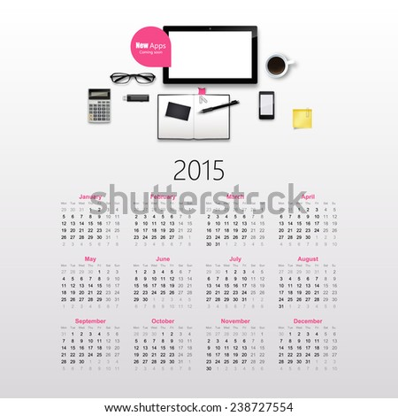 Calendar for 2015, with photorealistic office objects. Vector EPS10.