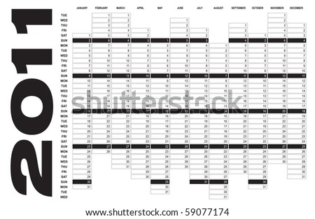 Calendar for Year 2011 - stock vector