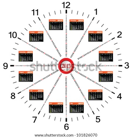 calendar for 2013 year in the form of clock three - stock vector