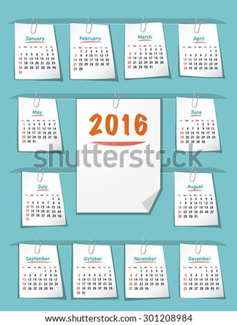 Calendar for 2016 year on sticky notes attached to the background with paper clips. Sundays first. Flat design vector illustration