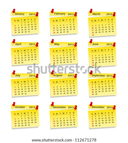 Calendar for 2013 year on yellow sticky notes, vector eps10 illustration - stock vector