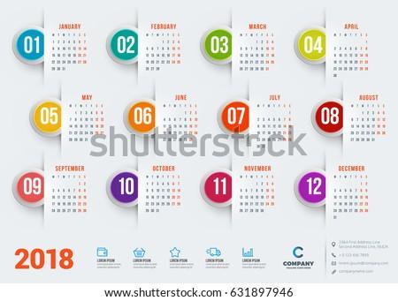 Calendar 2018 Year Vector Design Stationery Stock Vector 631897946 ...