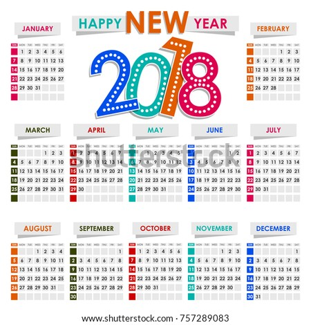 Calendar  Year Vector Design Stationery Stock Vector