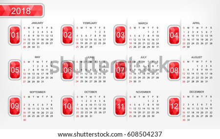 Calendar for 2018 year.Week starts sunday.Vector illustration.