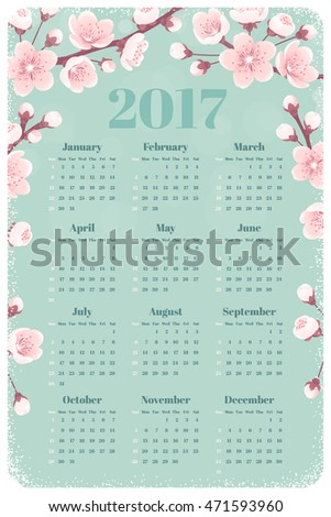Calendar for 2017 year with cherry blossom, spring flowers. Week starts from Sunday. Retro vector illustration