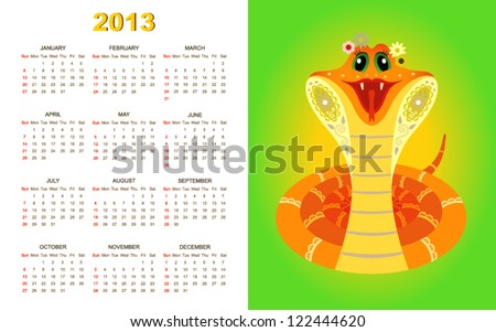 Calendar for 2013 year with yellow snake on green background (week starts with sunday). - stock vector