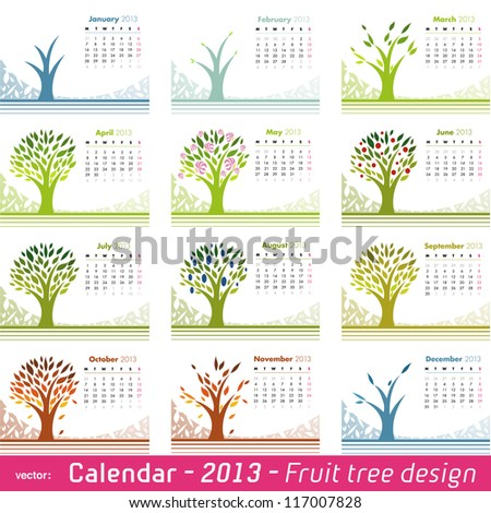 Calendar 2013 Fruit Tree Design. Choose your favorite month for your 2013 calendar. Vector isolated on white. - stock vector