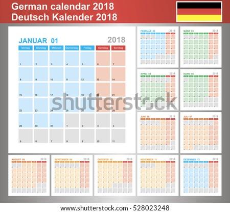 Calendar 2018, German Planning Calendar Template January   December, Week  Starts On Monday.