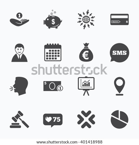 Calendar, go to web and like counter. Money, cash and finance icons. Piggy bank, credit card and auction signs. Presentation, pie chart and businessman symbols. Sms speech bubble, talk symbols. - stock vector