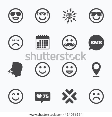 Calendar, go to web and like counter. Smile icons. Happy, sad and wink faces signs. Sunglasses, mustache and laughing lol smiley symbols. Sms speech bubble, talk symbols. - stock vector