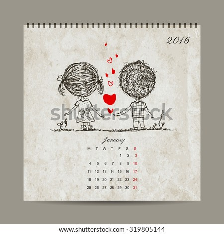 Calendar grid 2016 design, january. Couple in love together. Vector illustration - stock vector