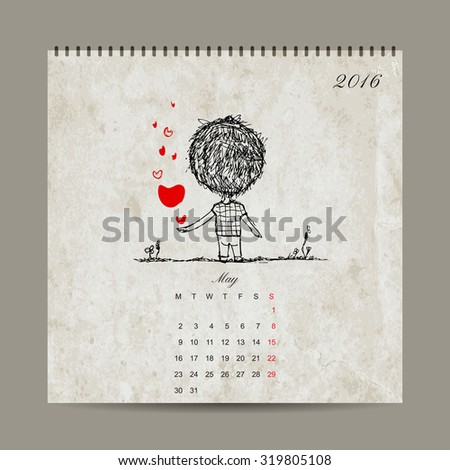 Calendar grid 2016 design, may. Couple in love together. Vector illustration - stock vector