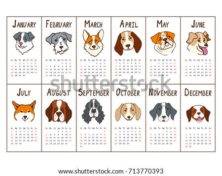 Calendar Grid 2018 Dogs Year Chinese Stock Vector 713770393 ...
