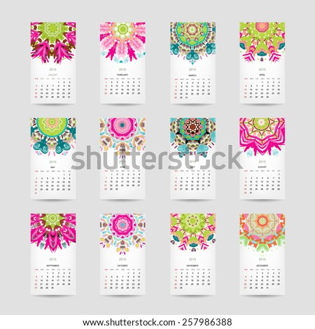 Calendar grid 2015 for your design, floral ornament. Vector illustration - stock vector