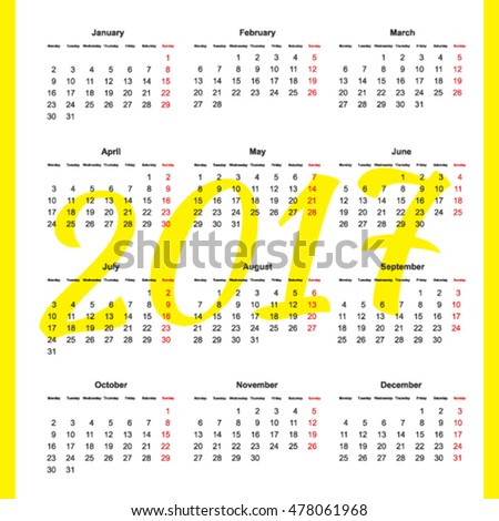 Calendar grid January 2017 to December 2017 year vector