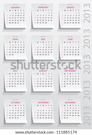 calendar grid of 2013 year on realistic paper stickers - stock vector
