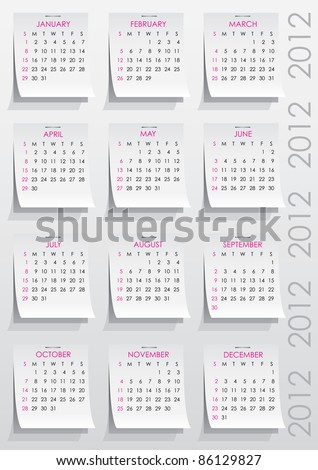 calendar grid of 2012 year on realistic paper stickers - stock vector