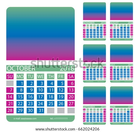 Calendar Grid September October November June July Stock Vector