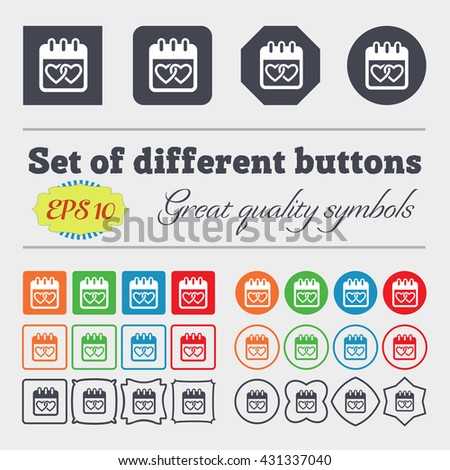 Calendar, heart, Valentines day, February 14, Love icon sign. Big set of colorful, diverse, high-quality buttons. Vector illustration - stock vector