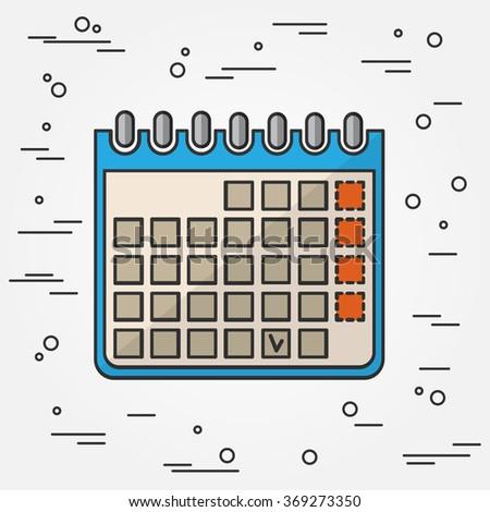 Calendar Icon. Calendar Icon Vector.Calendar Icon Drawing. Calendar Icon Image. Calendar Icon Graphic. Calendar Icon Art. Calendar Icon JPG. Calendar Icon JPEG.  Think line icon. - stock vector