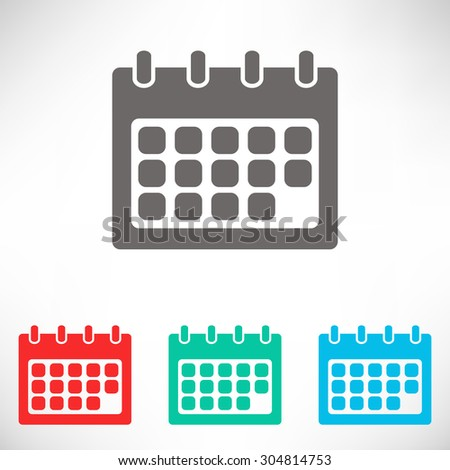 Calendar icon. Set of varicolored icons.